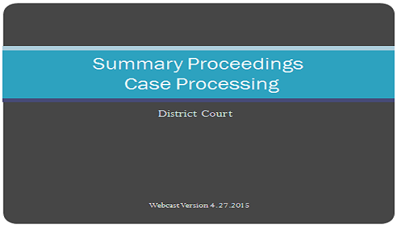 District Court Case Processing:  Summary Proceedings