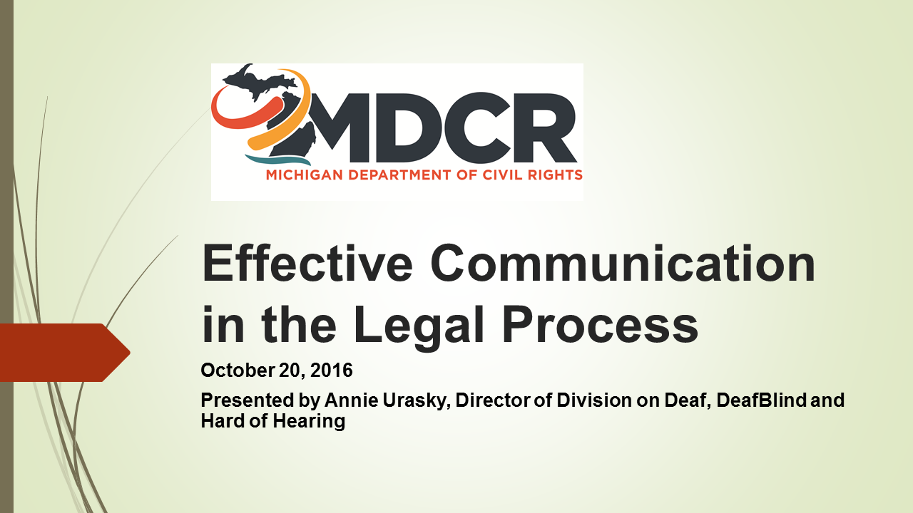 Effective Communication in the Legal Process for Persons with Hearing Disabilities